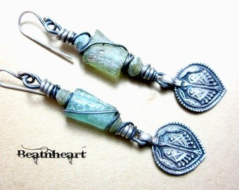 Artisan earrings Ancient Roman glass Sterling silver dangle rustic boho mystical jewelry