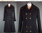 40% OFF 70s Black Military Coat Vintage 1970s Princess Sergeant Sgt. Pepper Steampunk Wool Long Wool Winter XS XSmall