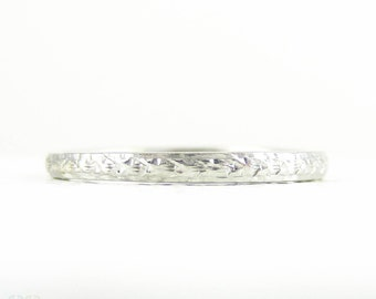Art Deco Engraved Platinum Wedding Ring, Narrow Fully Engraved Band by Alabaster & Wilson, Circa 1920s - 1930s. Size O / 7.25