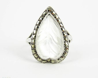 Vintage Carved Moonstone & Marcastie Ring, Large Leaf Shape Moonstone with Marcasite Halo in Sterling Silver.
