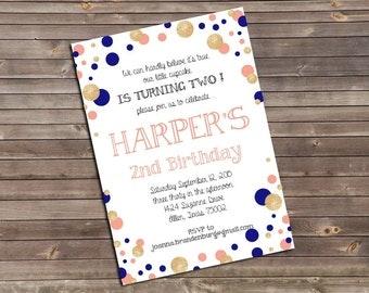 glitter, blush pink & navy dots second birthday printable invitation