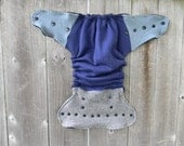 Upcycled Wool  Nappy Cover Diaper Wrap Cloth Diaper Cover One Size Cover Gray /Blue Colorblock/ Black