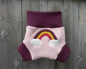 Upcycled Wool  Soaker Cover Diaper Cover With Added Doubler Pink/Plum With Rainbow Applique MEDIUM 6-12M Kidsgogreen