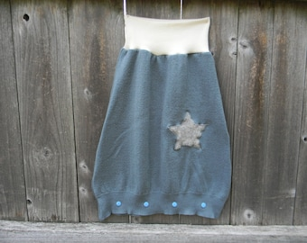 Upcycled Merino wool & Organic Merino Wool Interlock Baby Sleep Sack Baby Sleeping Bag Pajamas Steel Blue with A Star Applique 0-9M