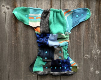 Upcycled Wool Nappy Cover Diaper Wrap Cloth Diaper Cover One Size Fits Most Patchwork Scrappy/ Charcoal Gray