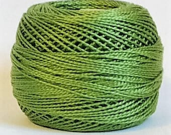 DMC Perle Cotton, Size 8, DMC 3347, Medium Yellow Green, Embroidery Thread, Punch Needle, Embroidery, Penny Rugs, Sewing Accessory