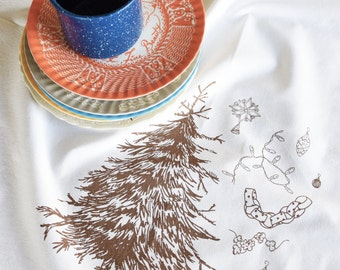 Christmas Tea Towel - Christmas Tree - Christmas Towels - Flour Sack Towels - Kitchen Towels - Dish Towels - Screen Print Tea Towel