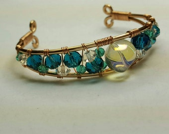 Copper Wire & Green Gems Bracelet