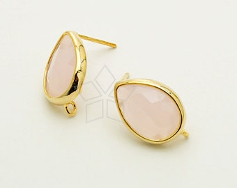 SI-121-GD / 2 Pcs - Bezel Pear Cut Stud Earrings (Ice Pink), 16K Gold Plated, with .925 Sterling Silver Post / 11mm x 14mm