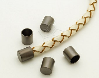 FE-038-MB / 10 Pcs - Cord End Caps (without Loop) for 5mm Leather, Cord Terminators, Matte Black Plated over Brass / 5.2mm inside diameter