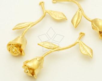 PD-1327-MG / 2 Pcs - Rose Stem Pendant, Long Flower Pendant, Matte Gold Plated over Brass / 38mm