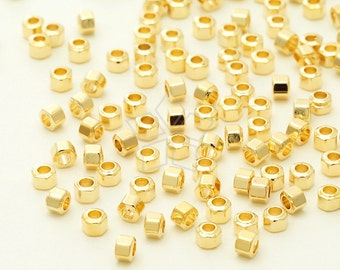 ME-244-GD / 100 Pcs - Mini Hexagon Beads Centrepiece, Geometric Spacer Beads (L-Size), Gold Plated over Brass / 2.5mm