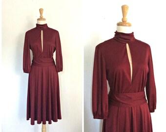 Vintage 70s Party Dress - disco dress - maroon - burgundy cocktail dress - studio 54 - midi - Lilli Diamond -  Medium