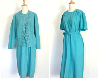 Vintage Dress Suit - shift dress - career dress - 70s dress - NWT - Jennifer Gee - midi - L