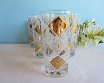 Vintage Tumblers Monogrammed with B - Gold and White