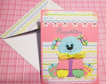 Handmade Baby Card, Patched Stuffed Toy Puppy Dog card with decorated envelope