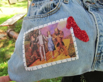 Wizard of Oz Denim Womens Purse Vintage Levi Jeans Bag Tote Dorothy Wicked Witch of West
