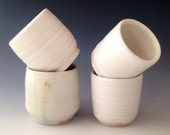 Set of 4 White Pottery Cups, Wood Fired Shot Glasses, Espresso/Tea Cups