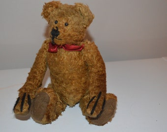 Jointed bear - hump back - teddy - toy - stuffed - vintage fur