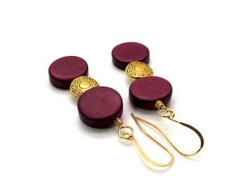 Brown and Gold Earrings – Brown Wood Earrings