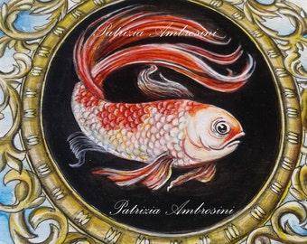"8""x 8"" Handpainted art block on wood - """" Koi fish in a frame"""" - ORIGINAL Painting"
