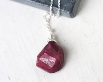 Red Ruby Sterling Silver Necklace, July Birthstone, Genuine Gemstone Wire Wrapped Necklace