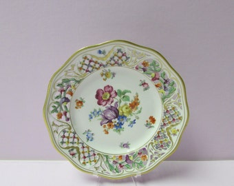 """Schumann """"Chateau"""" Porcelain Plate with Scalloped Reticulated, Pierced Wide Rim #1"""
