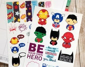 Cute Superhero Planner Stickers - 2 Sheets