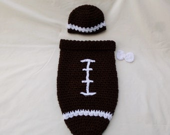 Hand Crocheted Football Cocoon & Hat set, Baby Photo Prop Set, Baby First Halloween Costme, Infant Cocoon Wrap