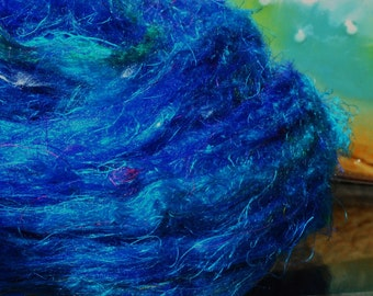 Pulled Sari Silk Carded Roving Silk Waste Blending Fiber Now Comes In Solid Colors!  Great Price