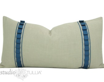 Linen Pillow Cover with Teal Ribbon - tan and blue - SALE - lumbar - 14 x 26 inch - decorative pillow - ribbon pillow - ready to ship