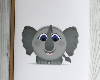 Lil' Elephant Card, Invitation, Blank Card, Greeting Card, All Occasion Card