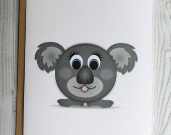 Lil' Koala Card, Invitation, Blank Card, Greeting Card, All Occasion Card