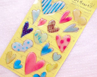Watercolor Heart Stickers in 3D / Clear PVC Seal Stickers / Resin Stickers (1 Sheet) Valentines Day Wedding Card Making Scrapbooking S372