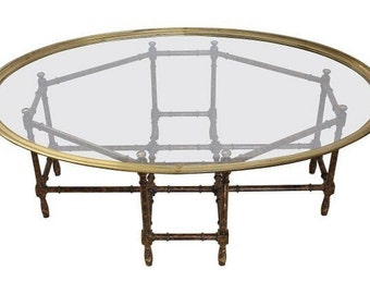 Brass Bamboo Coffee Table / Baker Brass and Glass Top Cocktail Table