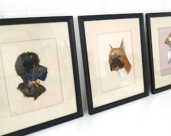 Vintage Dog Portrait Triptych La Foret/ Oil on Fabric under Glass
