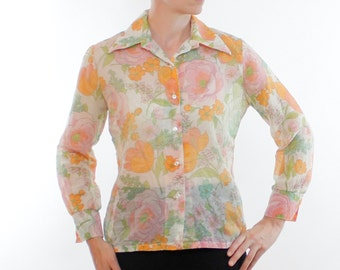 Vintage 60's sheer women's button down shirt, beautiful floral pattern, Orange, Pink, Seagreen, Olive, Queens Way To Fashion brand - Large