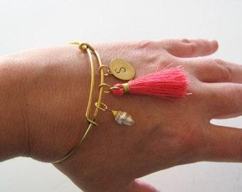 custom personalized initial bangle bracelet with pink tassel, golden seashell . expandable bracelet, summer fashion . monogram initial