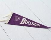 1950s Vintage Bulldogs Wool Felt Pennant - Souvenir