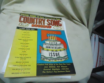 Vintage 1954 No. 33 Country Song Roundup Magazine, 5th Anniversary Issue, collectable