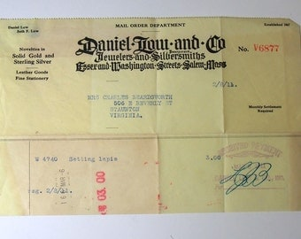 Vintage Mail Order Receipt 1900s Daniel Low and Co. Jewelers and Silversmiths