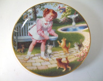 Vintage Danbury Mint Fridays Child, Elaine Gignilliat Collector Plate Children of Week, Redhead Little Girl Feeding Cats