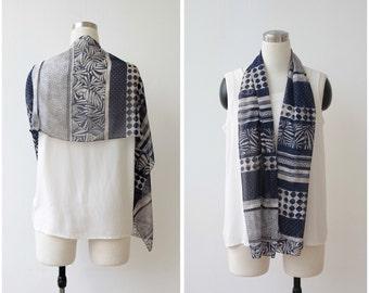 Gift For Her. Vintage Chiffon Scarf Sheer Scarf Long Tribal Print Scarf Geometric Print Headscarf