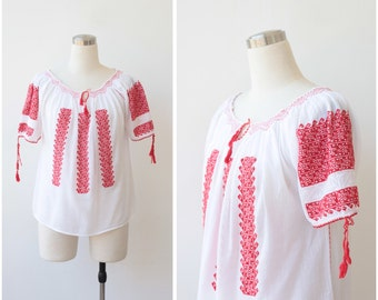 1970s Vintage Romanian Peasant Blouse, Embroidered Boho Top, White Embroidery Gauze Cotton Balkan Folk Blouse
