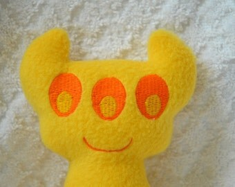 Handmade Stuffed Yellow Horned Monster - Fleece, Child Friendly machine washable softie plush