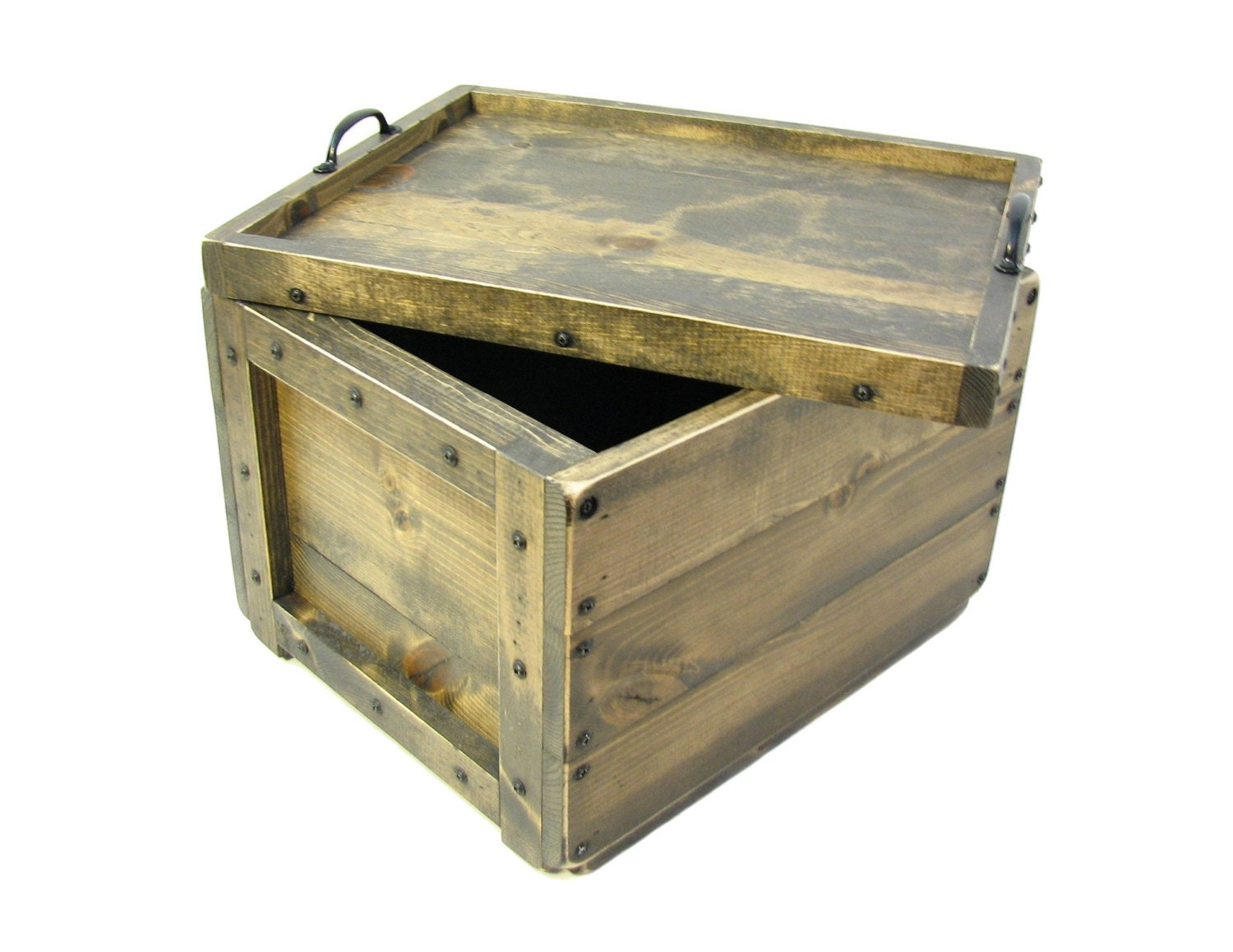 wood crate with reversible lid tray wooden box with lid. Black Bedroom Furniture Sets. Home Design Ideas