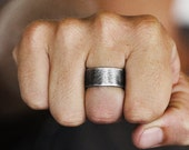 Rustic Wedding Band Oxidized Silver Ring Personalize Jewelry