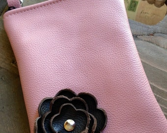 Pink Brown Leather Flower Cell Phone Galaxy Iphone Camera Sling Crossbody Case Zipper Pouch Small Purse