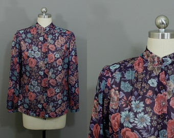 Vintage plum semi-sheer floral blouse