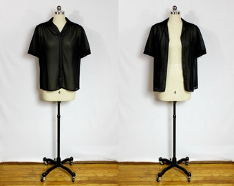 Vintage black sheer button down short sleeve shirt